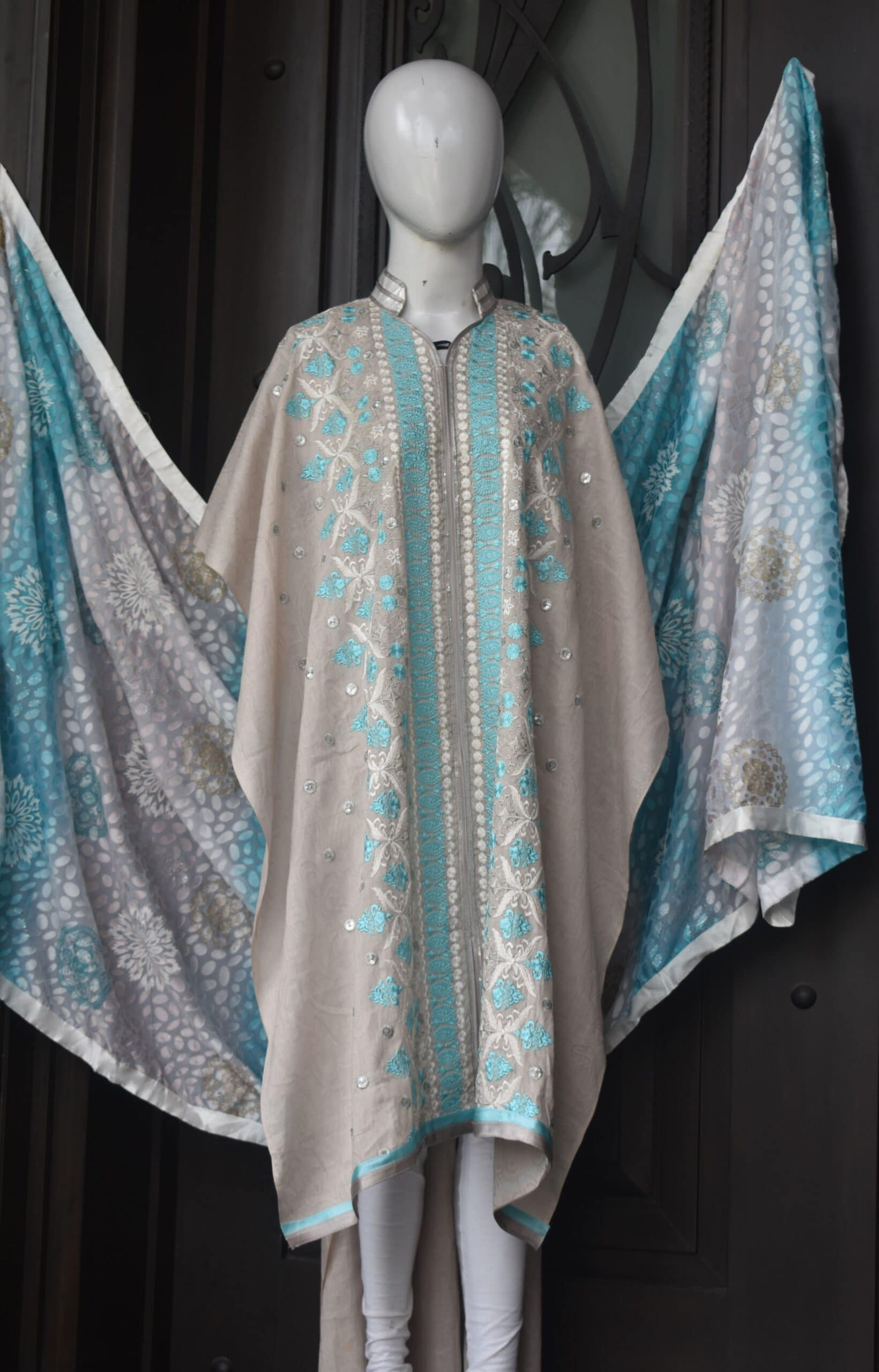 Chikankari machine embroidery on self printed lawn and palachi block printed dupatta