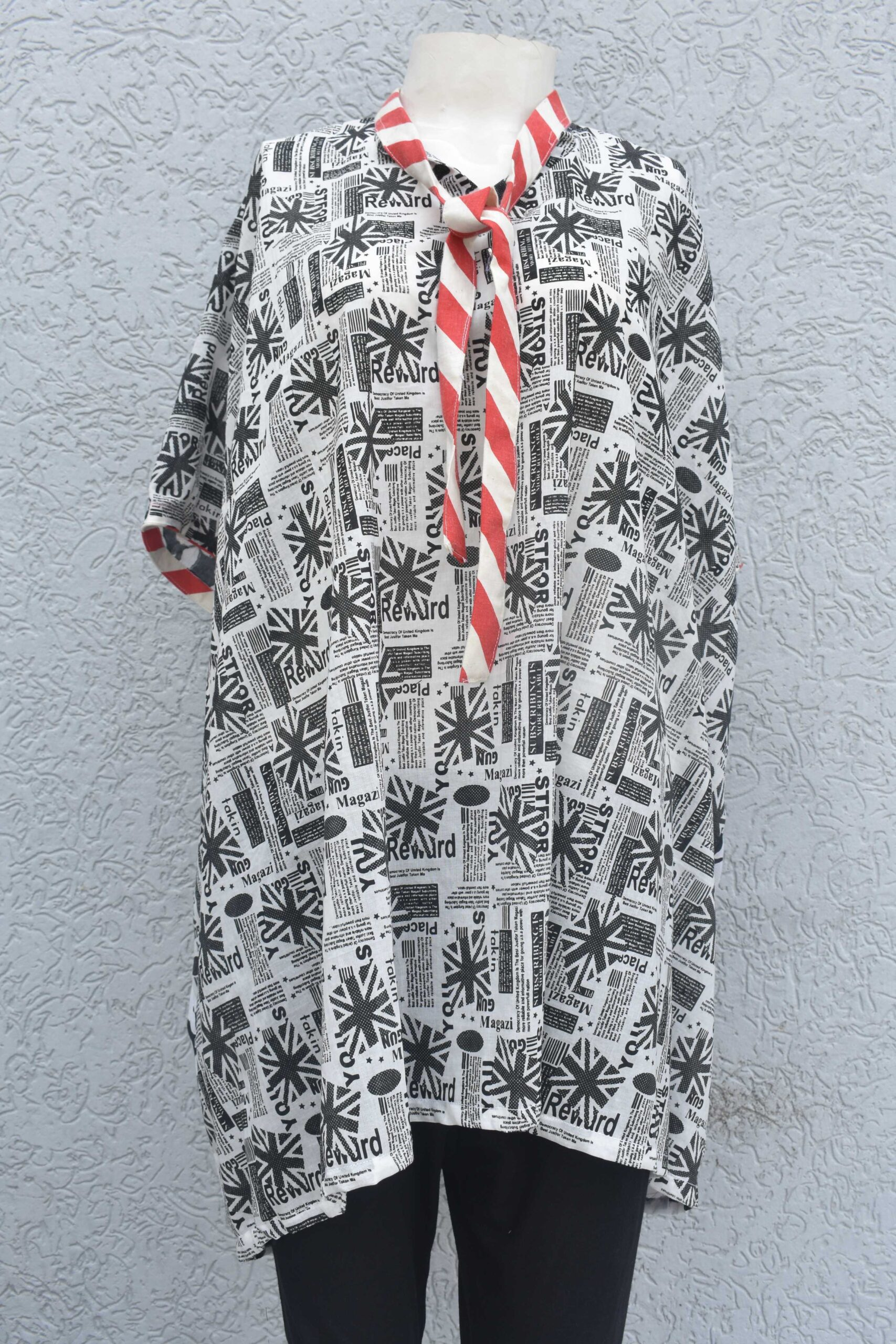 Lawn kurti with printed flag design and baggy style