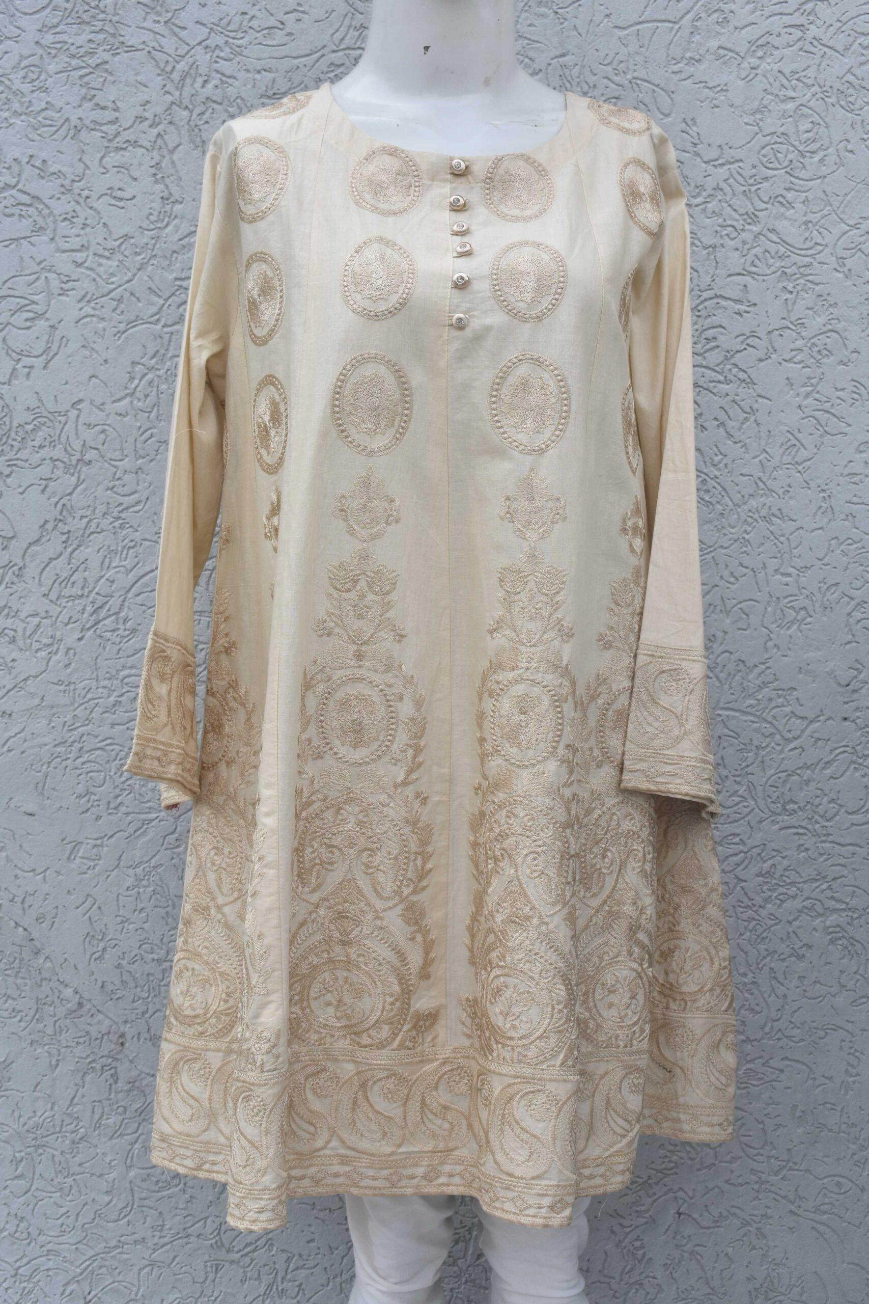 Lawn Kurti fully embroidered with kalian