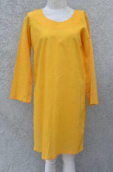 Lawn kurti plain yellow