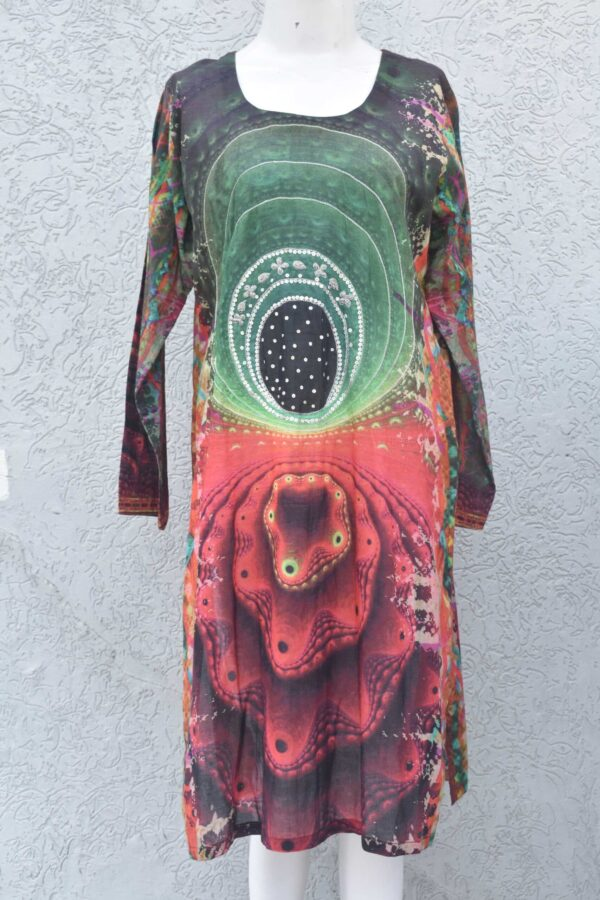 Silk shamose digital printed kurti with embellishment