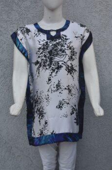 Pure silk shamose printed top