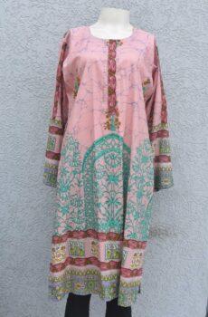 Printed lawn kurti with embellishment