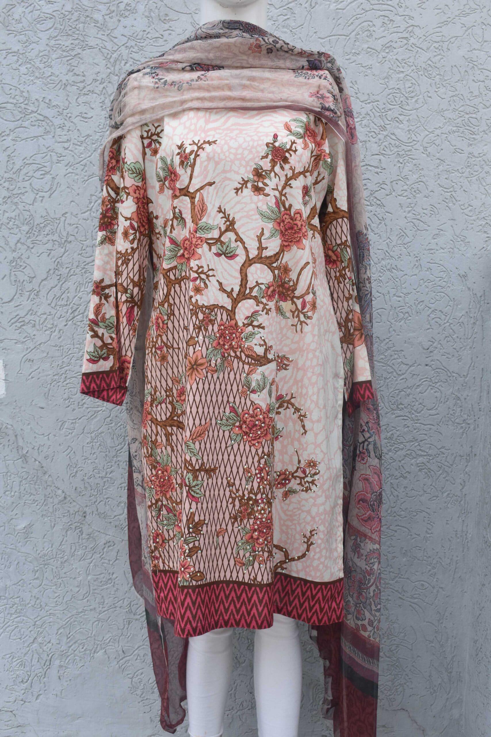 2 pc shirt printed with embellishment and chiffon dupatta