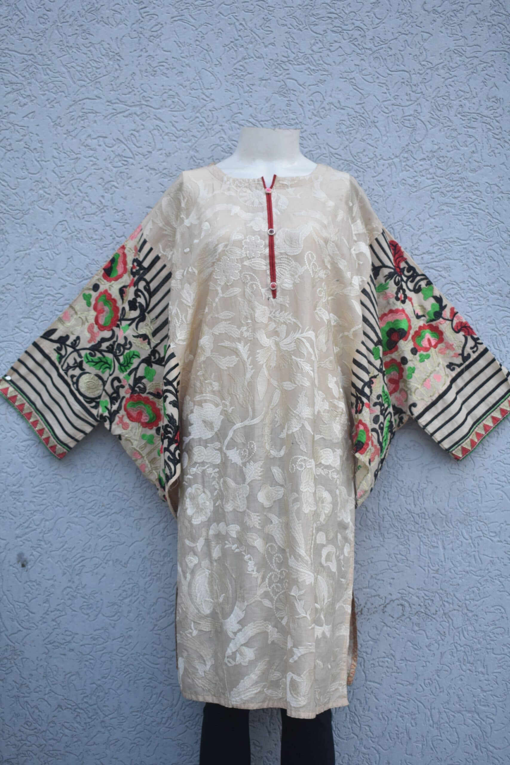 Full embroidered lawn kurti with multi colored baggy embroidered sleeves