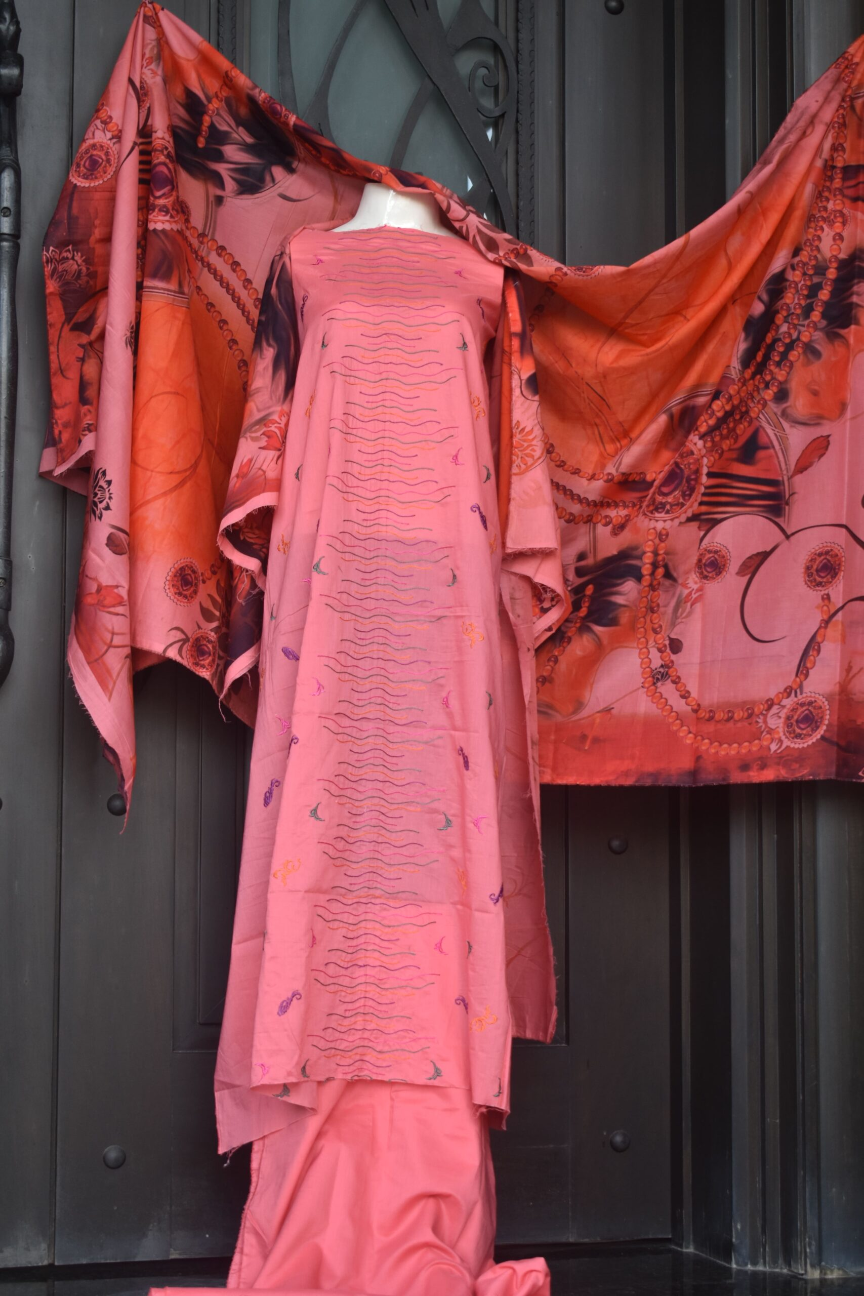 Unstitched chikankari with machine embroidery and digital print