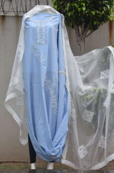 Blue innovative chikankari