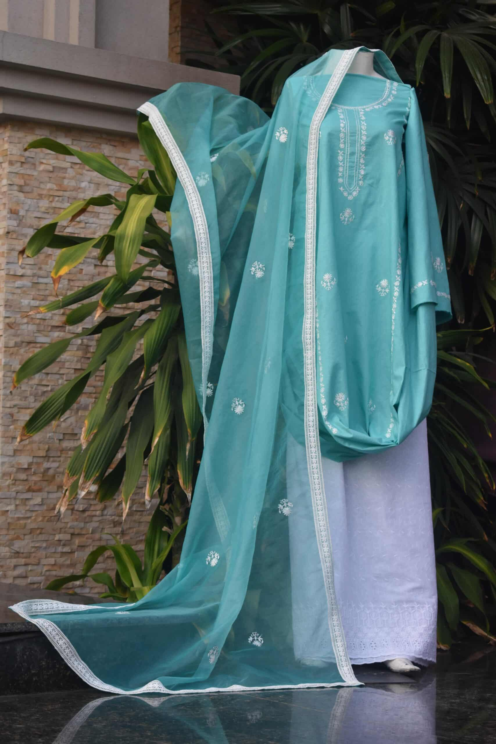Mint green kameez dupatta
