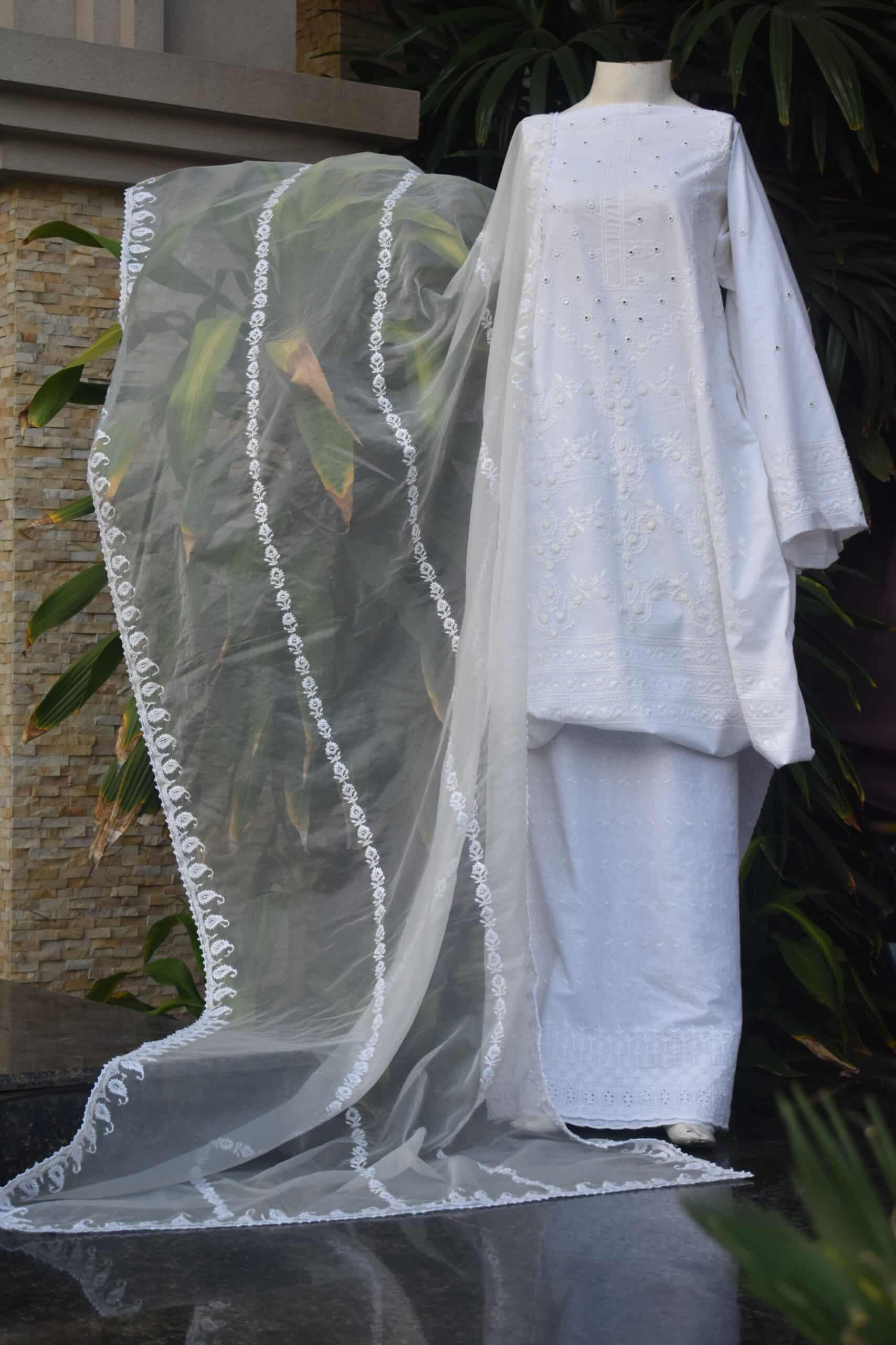White Innovative Chikankari