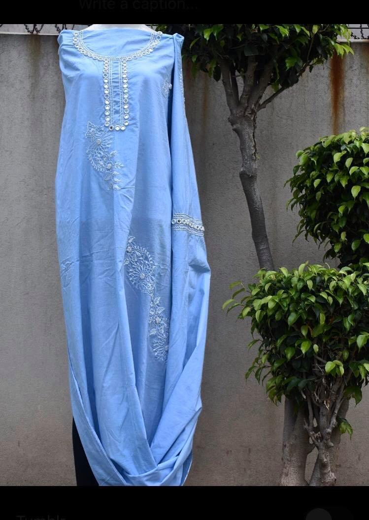 blue only shirt chikankari