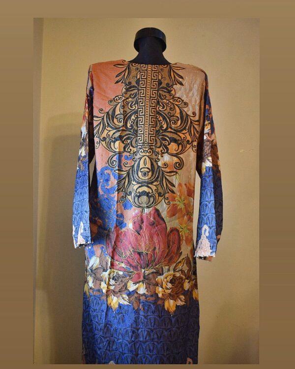 stitched deep colored straight kurta - back