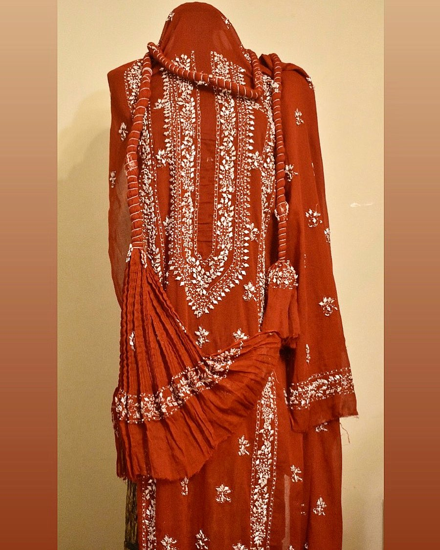 Candy red shirt dupatta