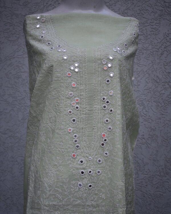cotton silk mirror work