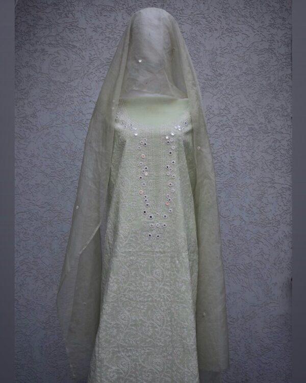 cotton silk mirror work and dupatta clo