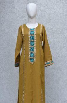 mixture of brown and yellow kurta