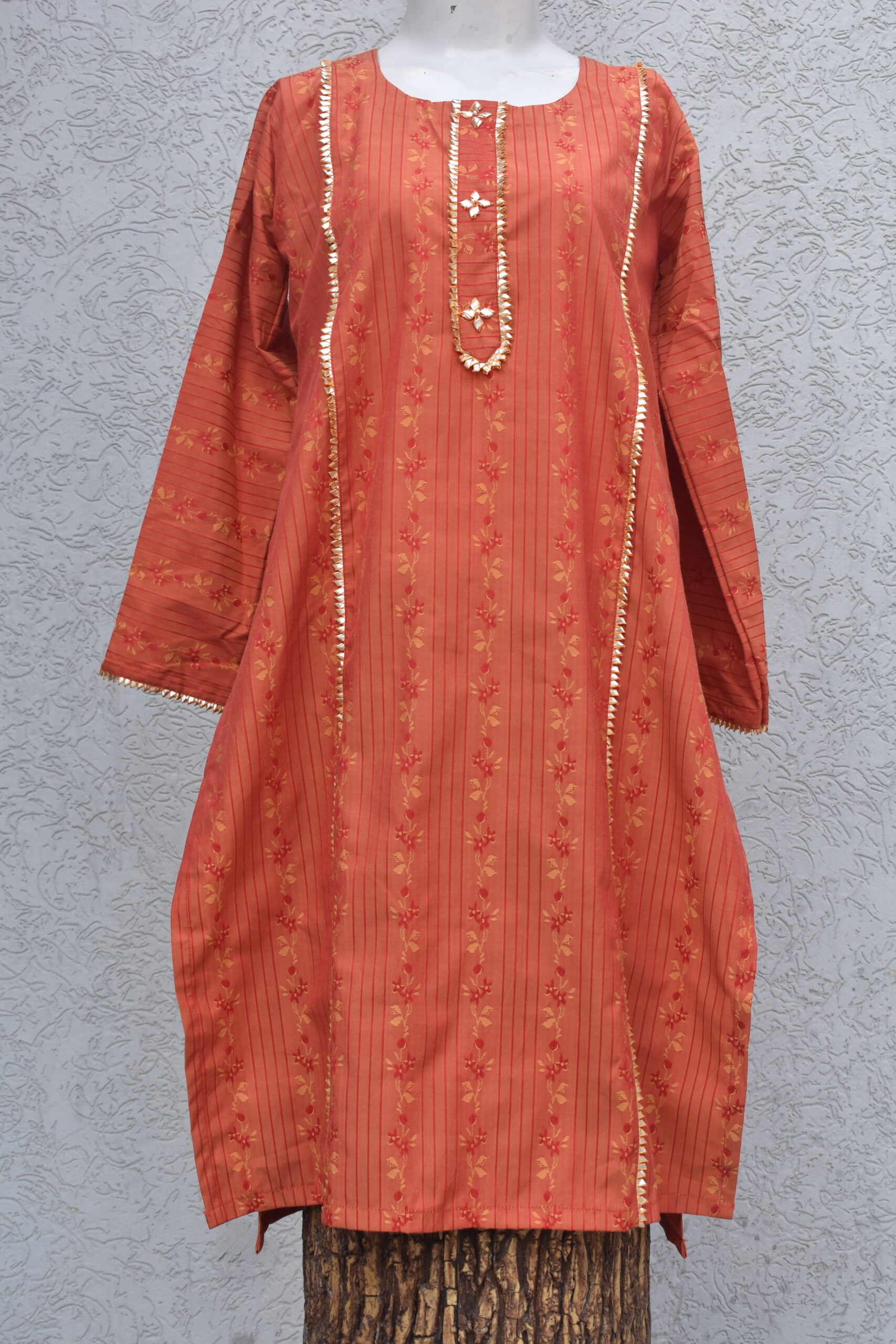 red fox orange kurta