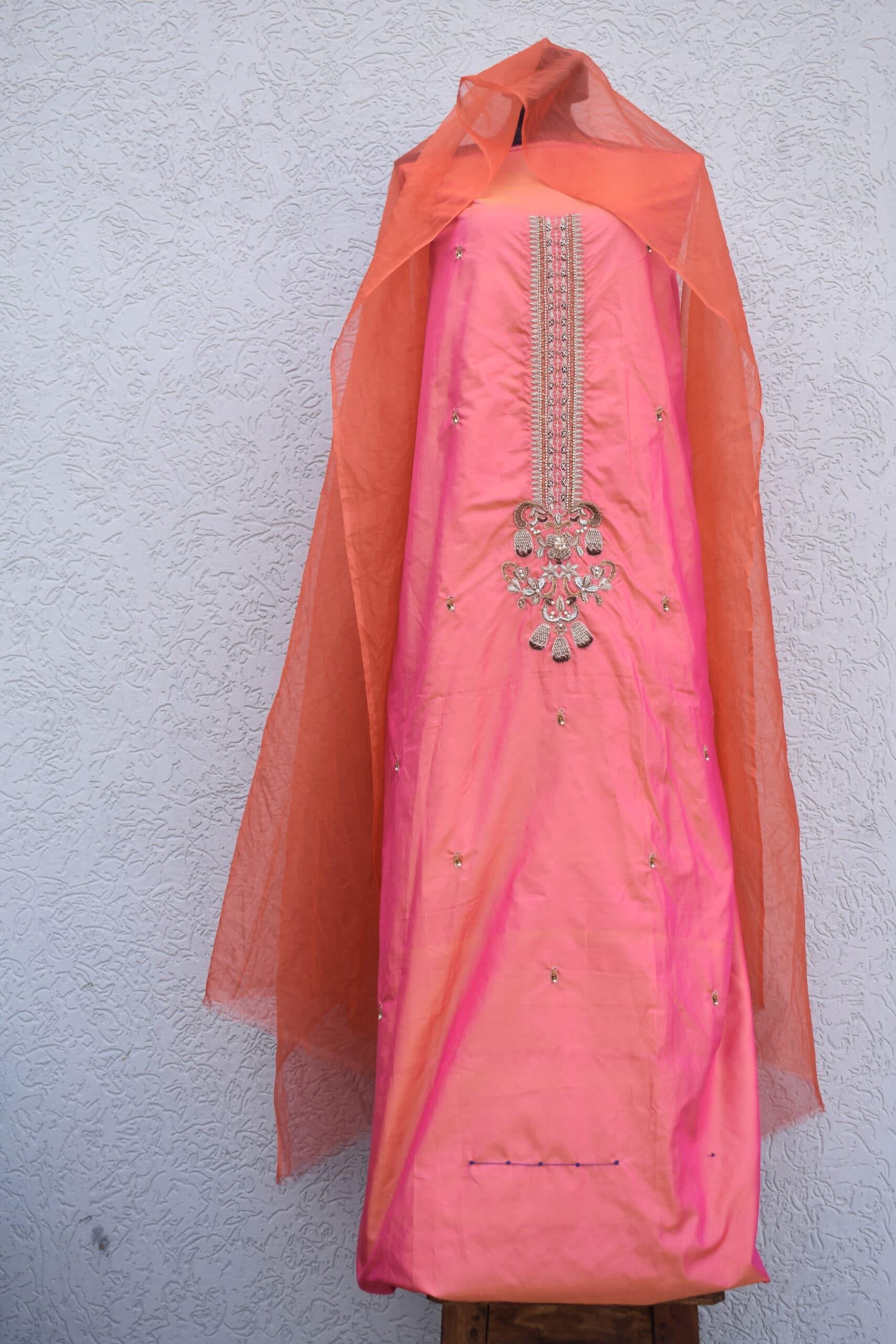 Two tone silk shirt dupatta