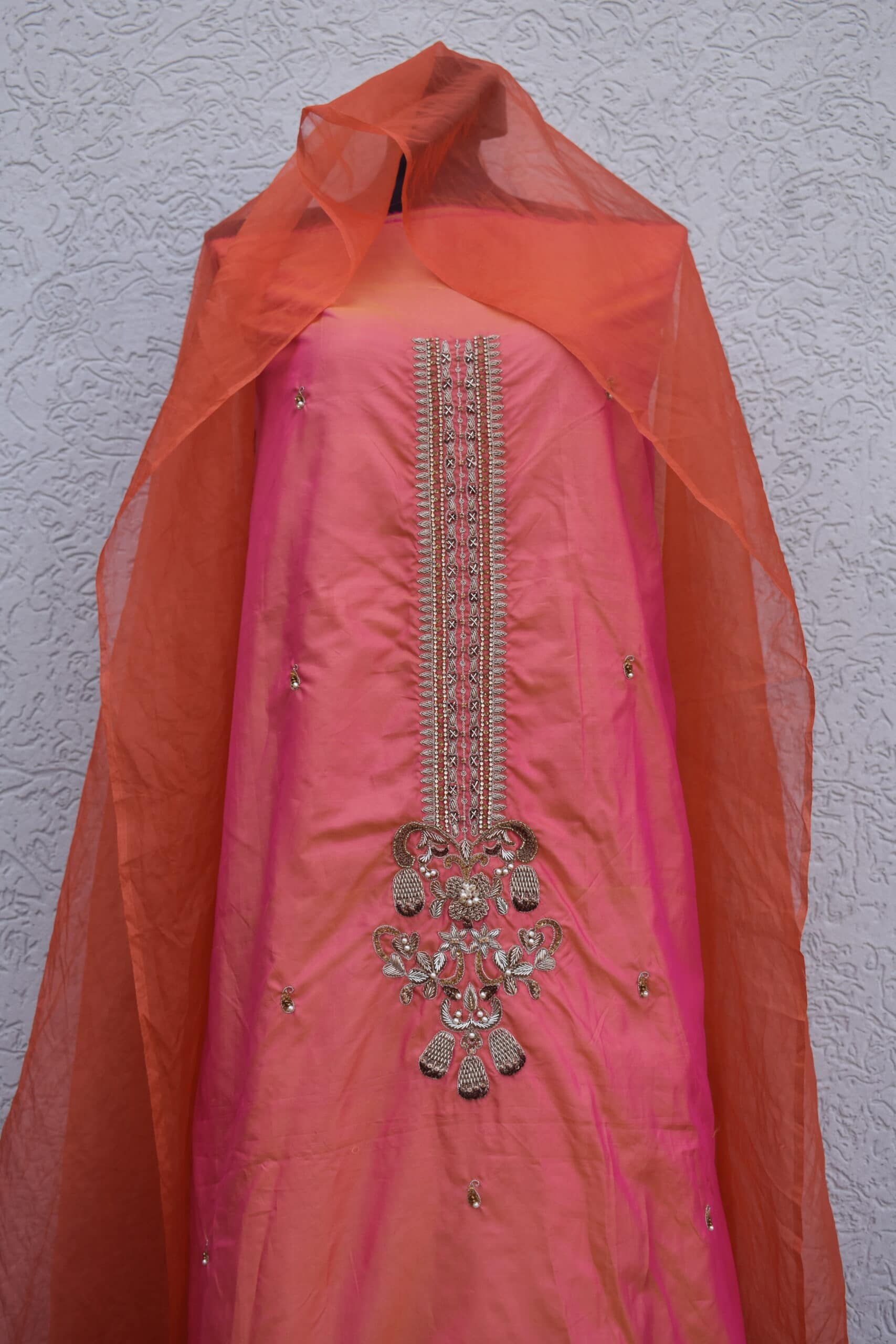 two tone silk shirt dupatta w zarri work
