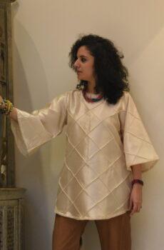 silk kurti with pintex